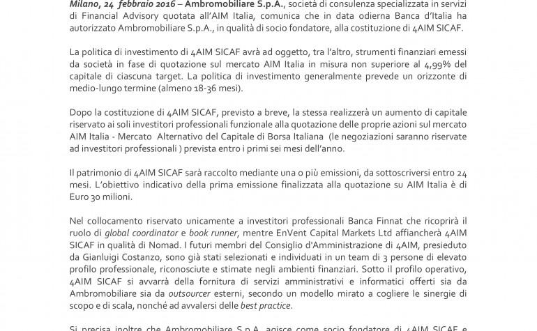 Banca d'Italia autorizza 4AIM SICAF all'esercizio del servizio di gestione collettiva del risparmio