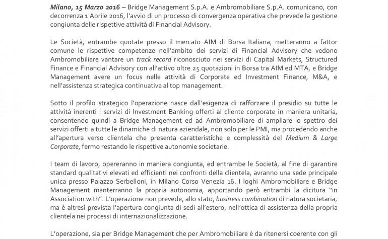 Ambromobiliare & Bridge Management avviano un processo di convergenza operativa nelle rispettive attività Financial Advisory