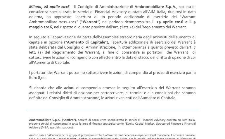 """Apertura di un periodo addizionale di esercizio dei  """"Warrant Ambromobiliare 2011-2017"""""""