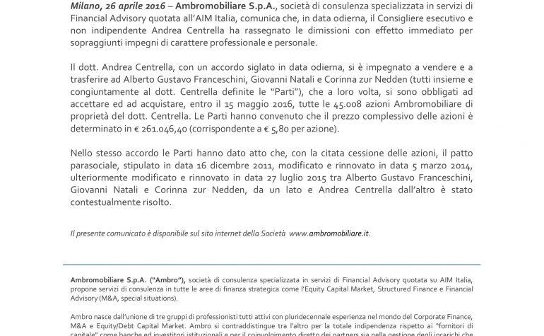Comunicazione anche ai sensi dell'art. 17 regolamento AIM – Scioglimento patto parasociale