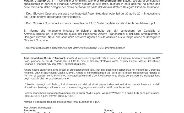 Comunicazione ex art. 17 Regolamento Emittenti