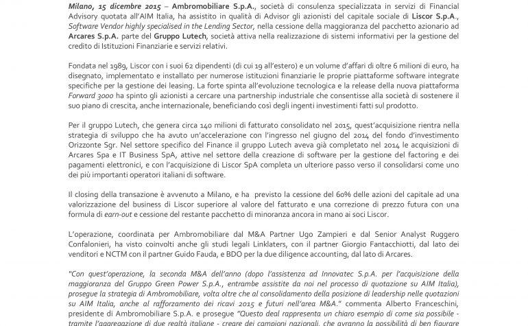 Ambromobiliare Advisor nella cessione di Liscor S.p.A.