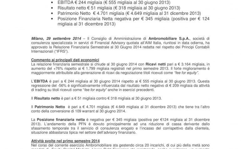 CdA approva relazione finanziaria semestrale 2014