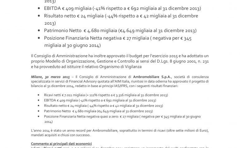 CdA approva progetto di bilancio al 31 dicembre 2014