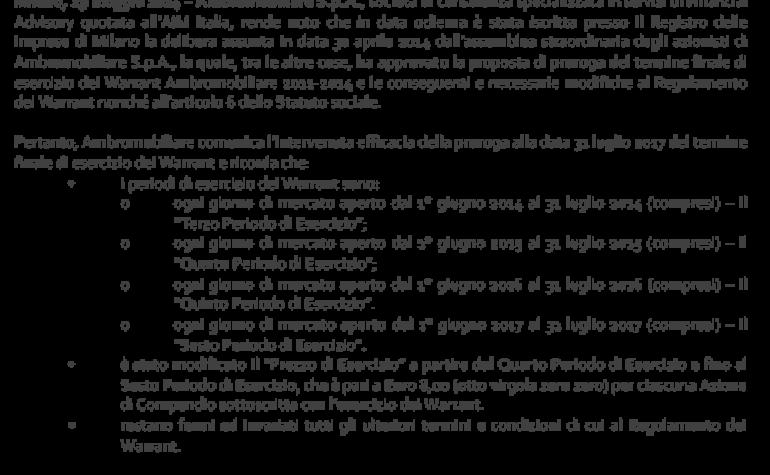 Efficacia della proroga del termine finale per l'esercizio dei warrant
