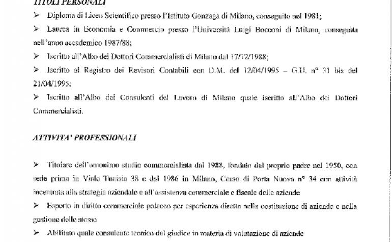 CV e cariche Diego Pastori