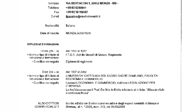 CV e cariche Fabio Pessina