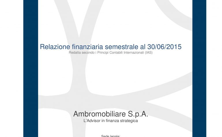 Relazione finanziaria semestrale al 30.06.2015
