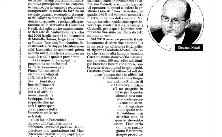 Eco di Bergamo 9 settembre 2009