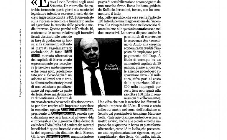 Milano Finanza 5 luglio 2014