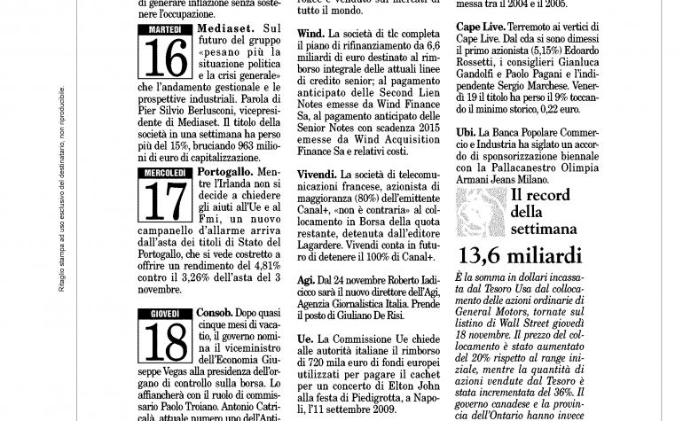 Milano Finanza 20 novembre 2010