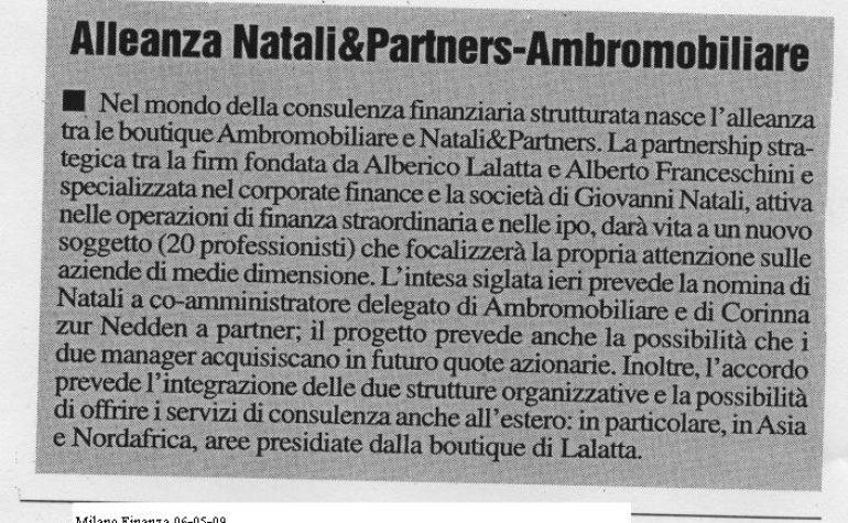 Natali Partners & Ambromobiliare – Milano Finanza 06-05-09