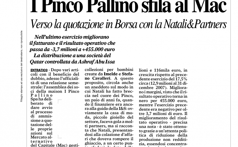 Giornale di Bergamo 2 settembre 2009