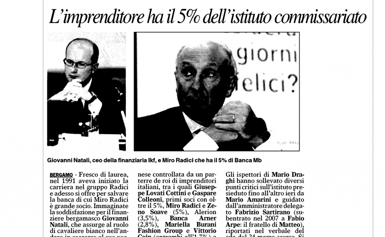 Giornale di Bergamo 17 luglio 2009