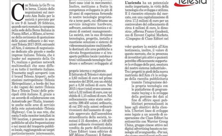Milano Finanza 18 febbraio 2017