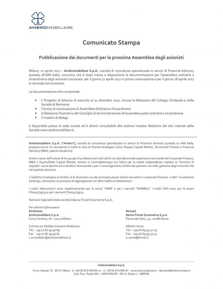 Pubblicazione dei documenti per la prossima Assemblea degli azionisti