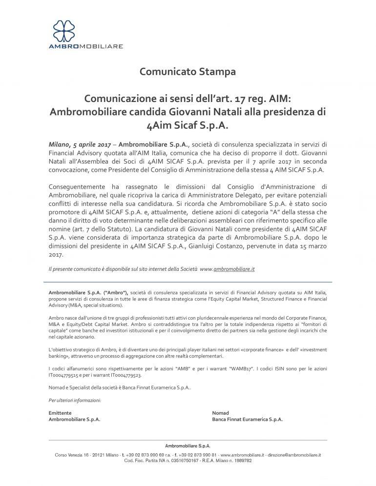Ambromobiliare candida Giovanni Natali alla presidenza di 4AIM Sicaf