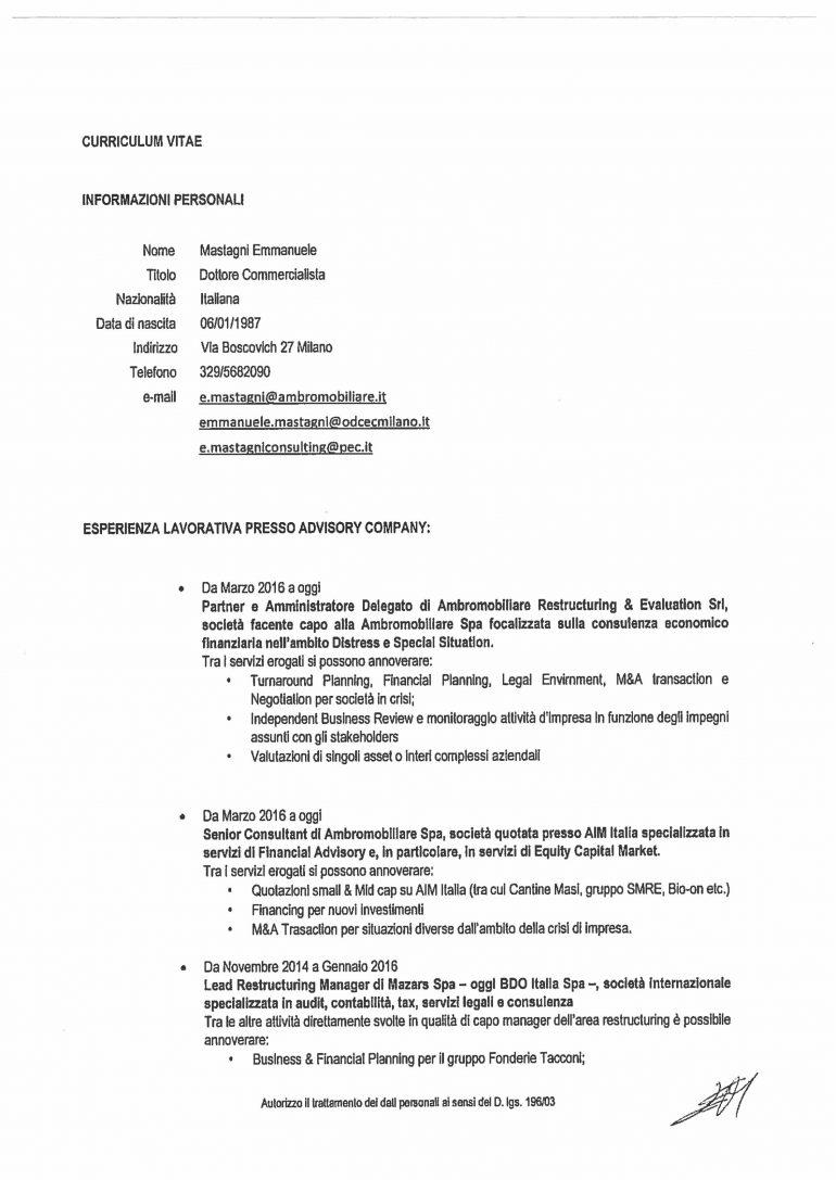 CV e cariche Mastagni