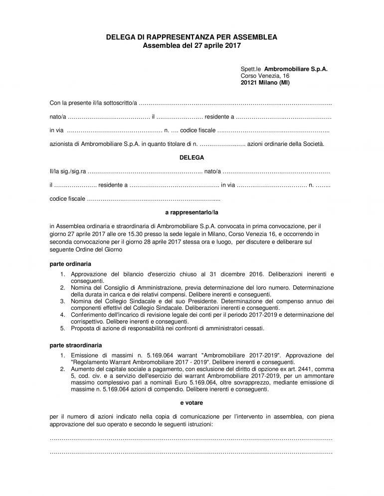 Modulo generico per delega Assemblea 2017