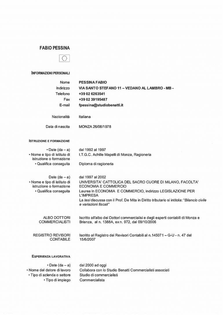 CV e cariche Pessina