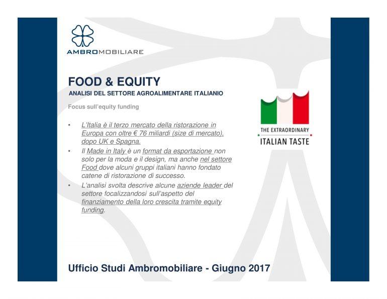 Ufficio Studi Ambromobiliare Food & Equity – analisi del settore agroalimentare italiano