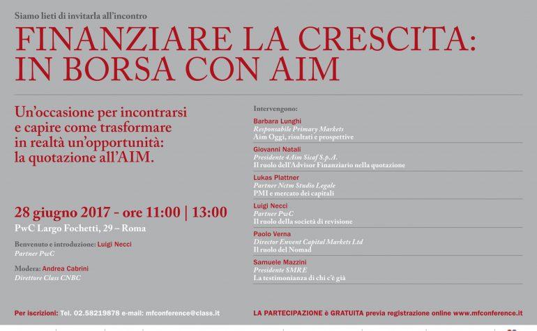 Invito: Finanziare la crescita: in Borsa con AIM