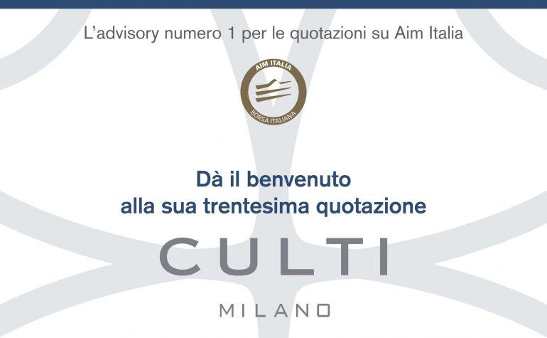 Pagina pubblicitaria per il 1° giorno di negoziazione di CULTI Milano pubblicato su MF del 15 luglio 2017