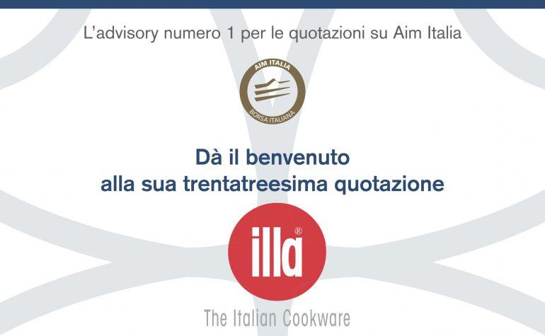 Pagina pubblicitaria per il 1° giorno di quotazione di ILLA su MF