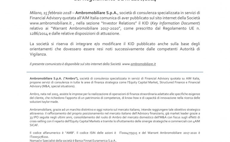 Messa a disposizione del KID Warrant Ambromobiliare 2017 -2020