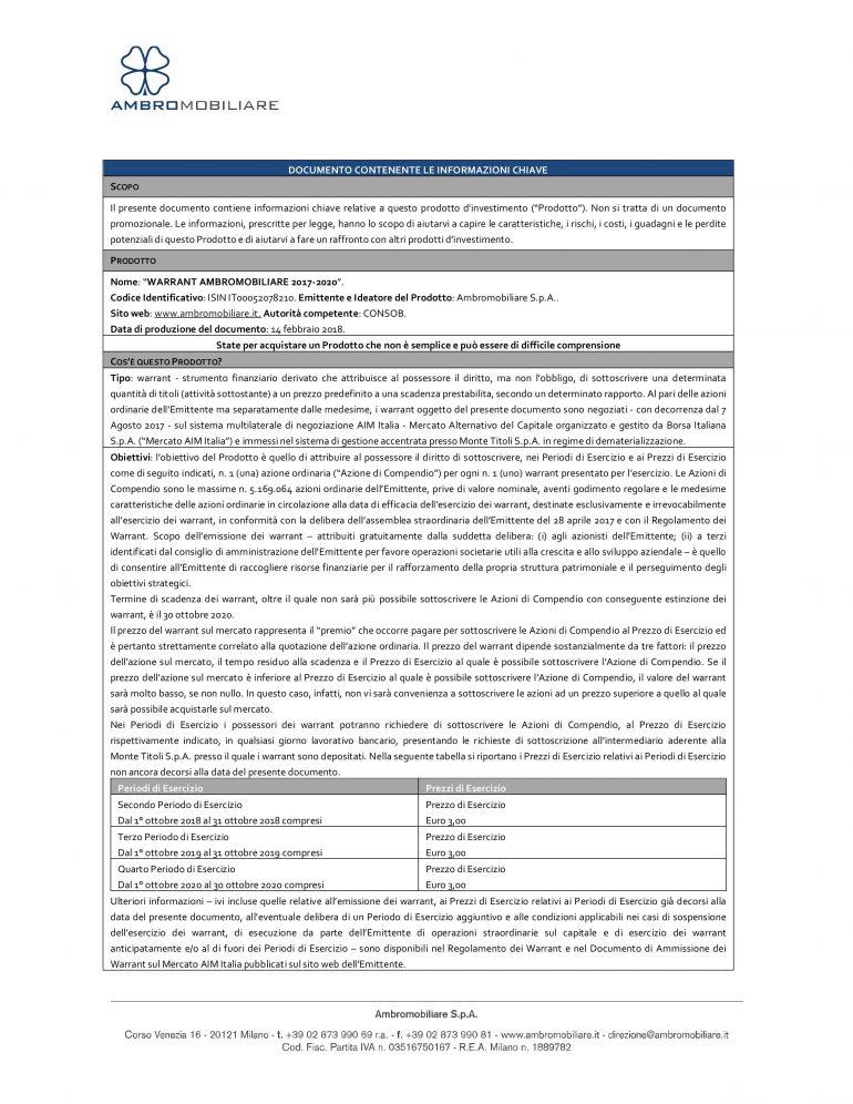 KID Warrant Ambromobiliare 2017 – 20120