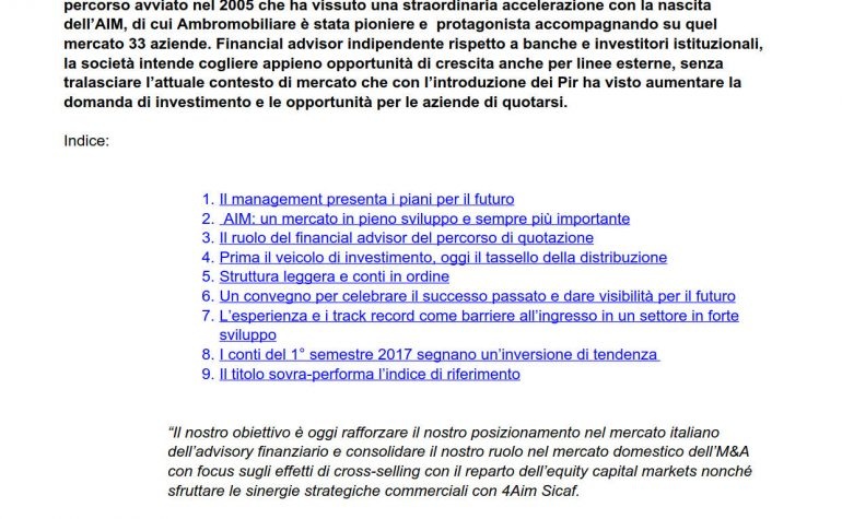 Lettera all'Investitore Marketinsight 14 marzo 2018