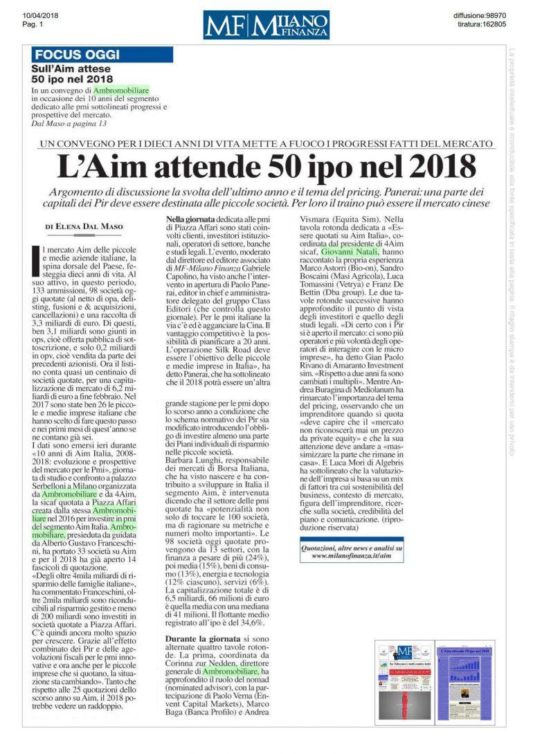 Milano Finanza 10 aprile 2018