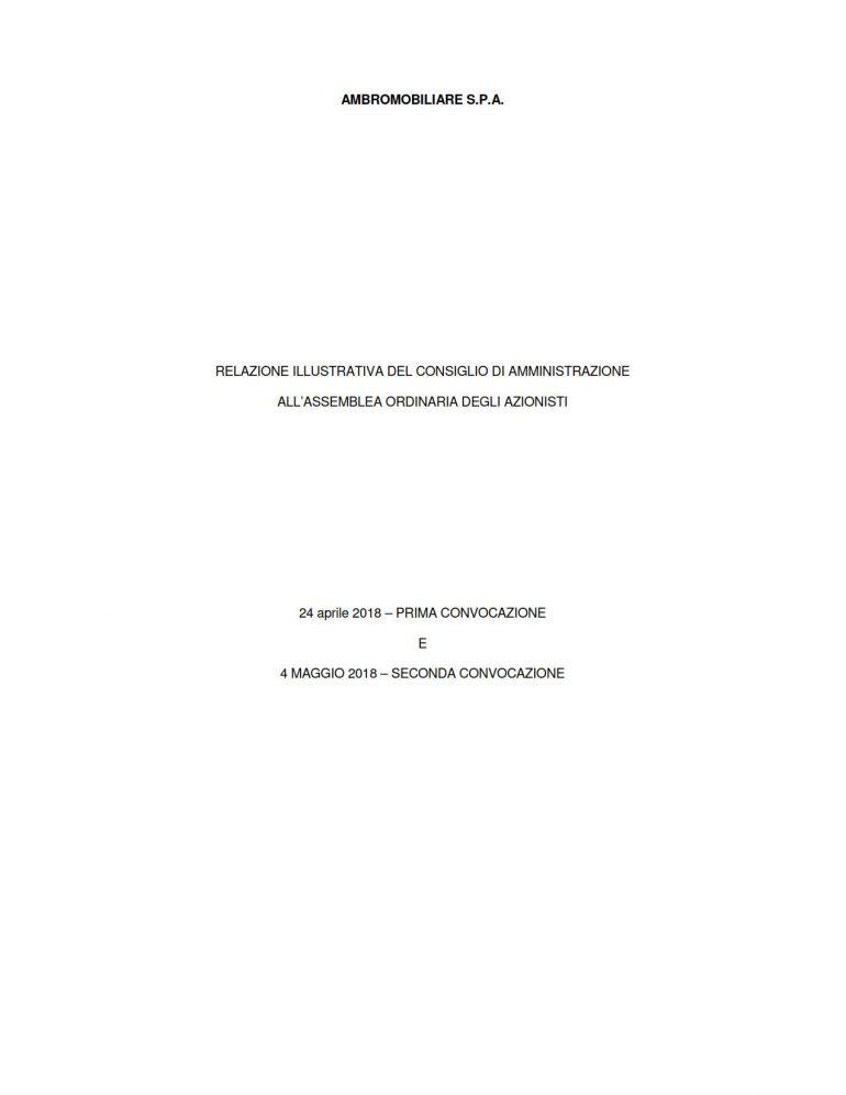 Relazione del Consiglio di Amministrazione per l'Assemblea 2018 punto 1 ordine del giorno