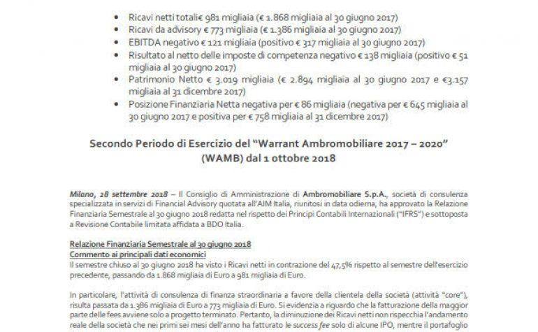 CdA approva la Relazione Finanziaria Semestrale al 30 giugno 2018 e Secondo periodo di Esercizio del Warrant WAMB