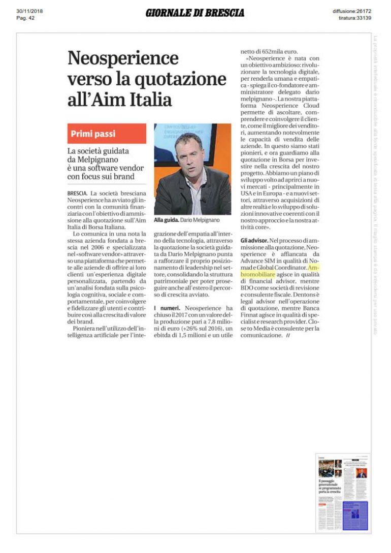 Giornale di Brescia 30 novembre 2018