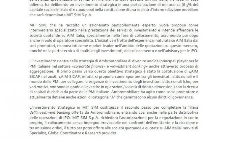 Investimento strategico in MIT SIM