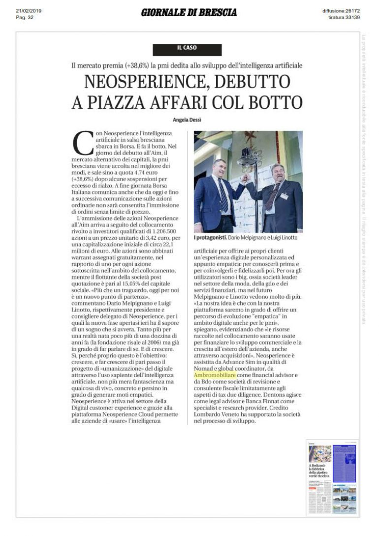 Giornale di Brescia 20 febbraio 2019