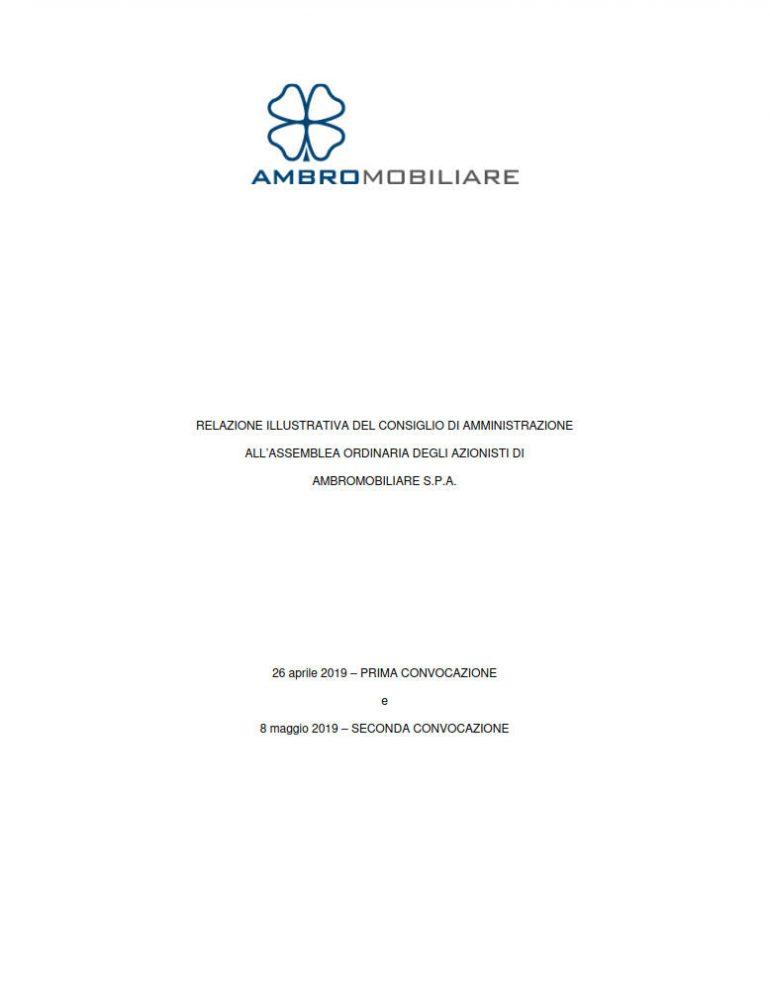 Relazione illustrative del CdA per l'Assemblea 2019