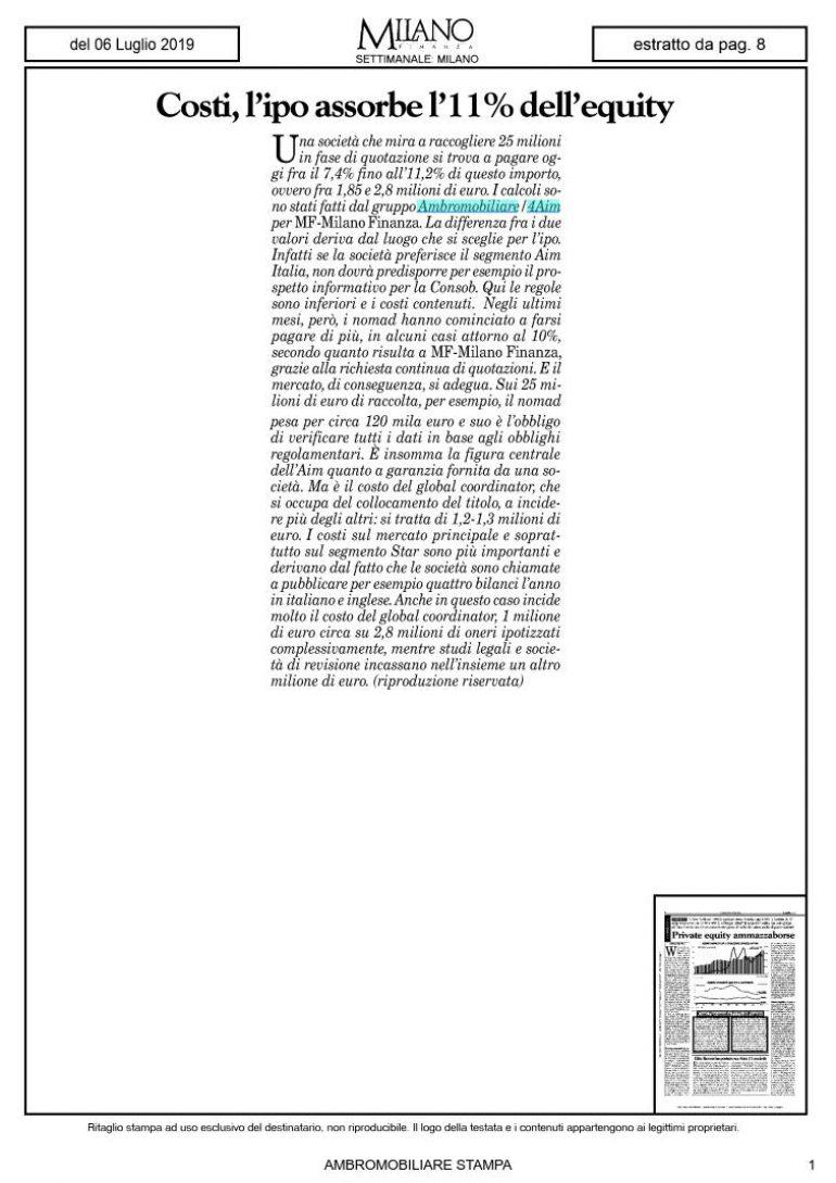 Milano Finanza 6 luglio 2019