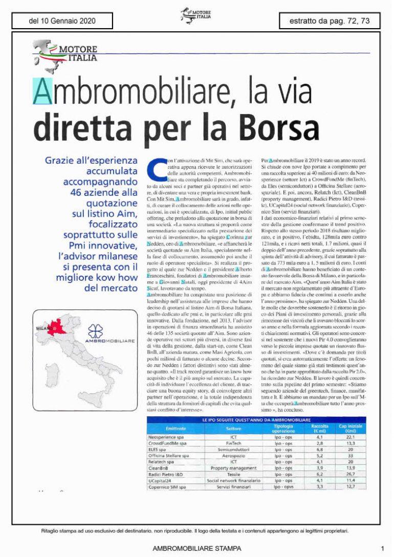 Motore Italia 10 gennaio 2020