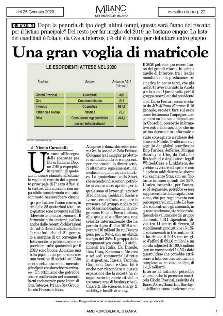 Milano Finanza 25 gennaio 2020