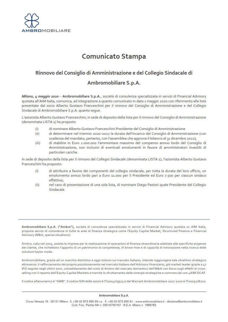 Rinnovo del Consiglio di Amministrazione e del Collegio Sindacale di Ambromobiliare S.p.A.