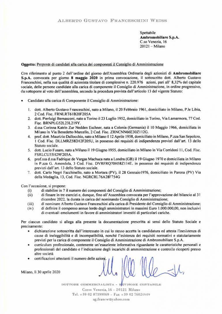 LISTA 1 Consiglio di Amministrazione Assemblea 2020