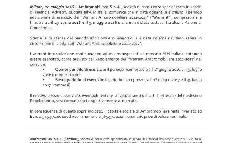 """Termine del periodo addizionale di esercizio dei  """"Warrant Ambromobiliare 2011-2017"""""""
