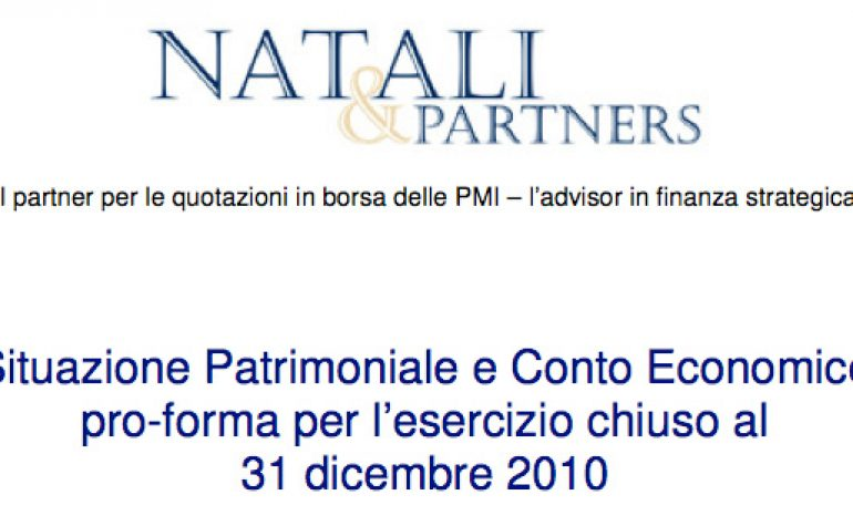 Bilancio pro-forma al 31.12.2010