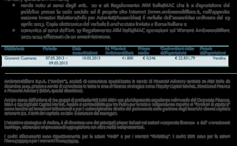 Comunicazione ex artt. 17, 20 e 26 regolamento AIM