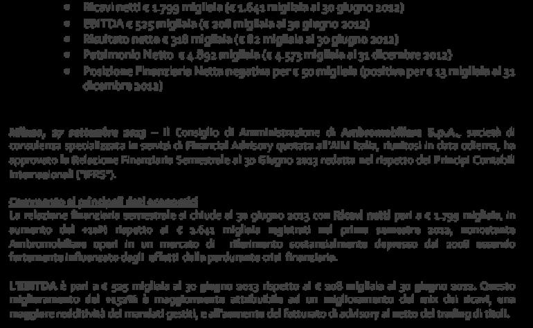 Approvazione Relazione finanziaria semestrale al 30 giugno 2013
