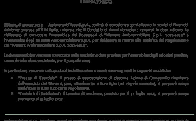 CdA delibera convocazione Assemblea dei possessori di Warrant