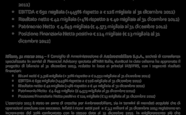 CdA approva progetto di bilancio al 31.12.2013