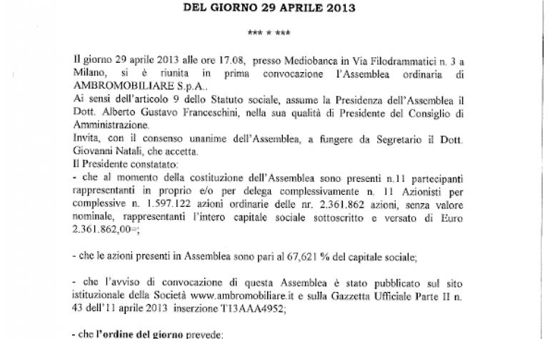 Verbale dell'Assemblea Ordinaria del 29 aprile 2013